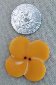 vintage butterscotch bakelite button, large clover leaf flower shape charm or jewelry button