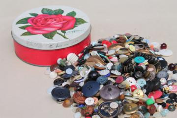 vintage button collection, old rose print tin full of buttons of all kinds