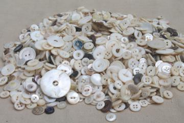 vintage buttons lot, mother of pearl shell button collection, large buttons & small shirt buttons