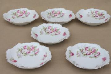 vintage cabbage roses floral china dessert dishes, set of 6 fruit or ice cream bowls