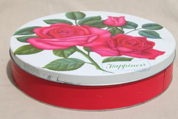 vintage cake or cookie tin w/ pink sweetheart roses & Happiness motto