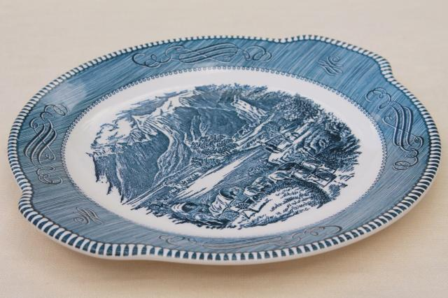 vintage cake plate or serving tray, Royal china blue & white Currier & Ives