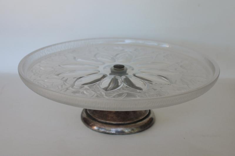 vintage cake plate w/ silver stand, crystal frosted glass puffy roses pattern