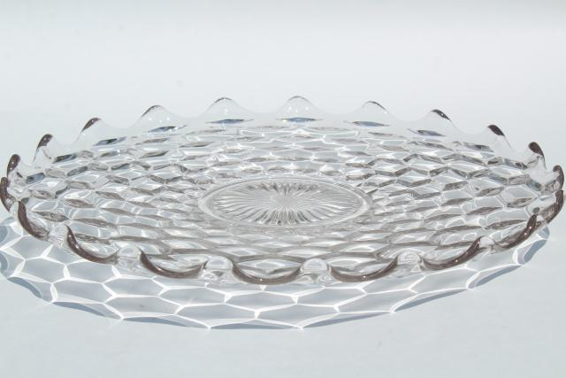 vintage cake plate, small torte plate in cube pattern glass, Fostoria American