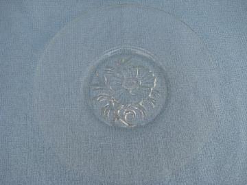 vintage camellia flower pattern glass sandwich serving or cake plate