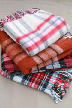 vintage camp blanket lot, stack of plaid blankets for camping, stadium blankets