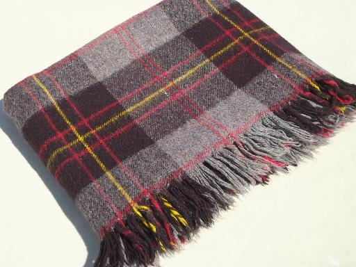 vintage camp blanket, soft  cozy  plaid picnic blanket or throw