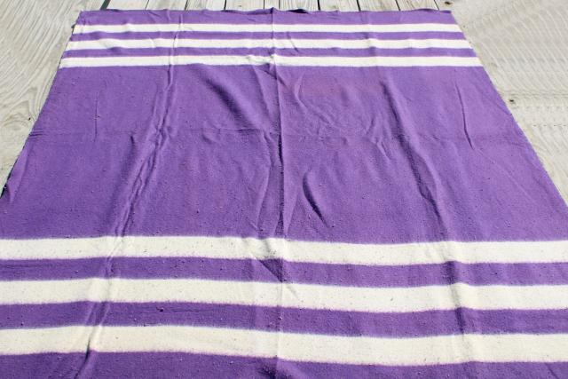 vintage camp blanket, thick heavy camping bunkhouse blanket striped purple
