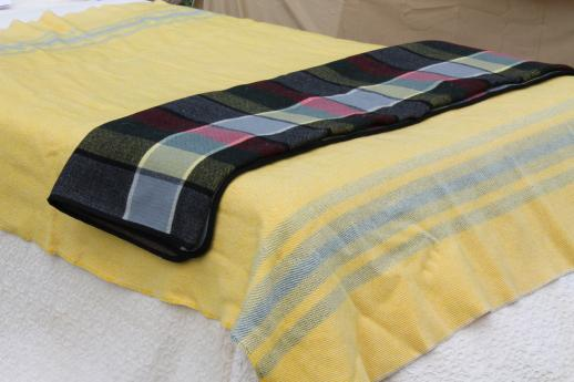 vintage camp blankets - striped wool blanket & Zoeppritz loden style plaid