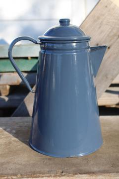 vintage camp coffee pot, storm grey enamel ware steel coffeepot for stovetop