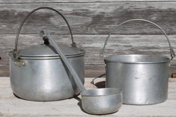 vintage camp cookware, aluminum camping pots w/ wire handles, cooking kettles w/ dipper