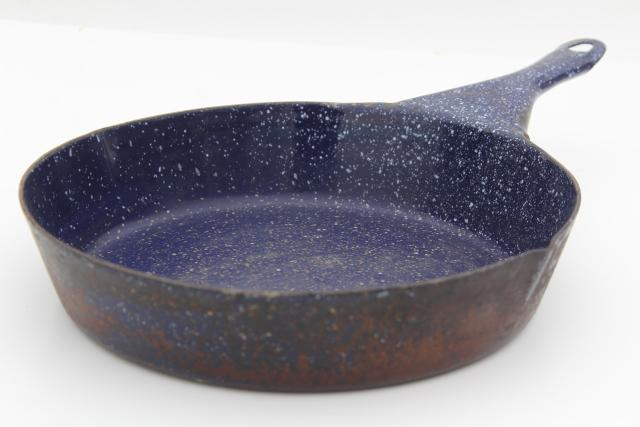 Vintage Camp Cookware Blue Speckled Graniteware Enamel