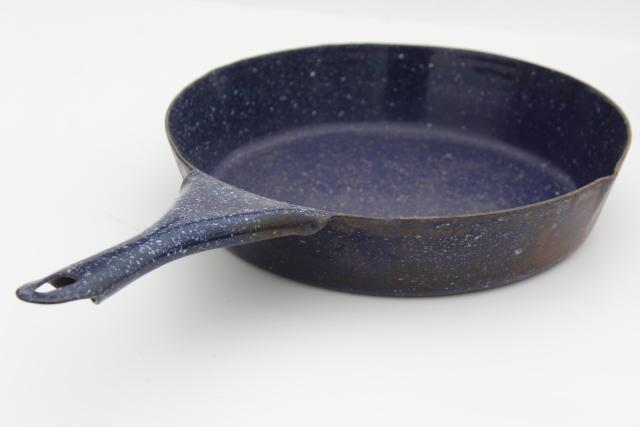 Vintage Camp Cookware Blue Speckled Graniteware Enamel