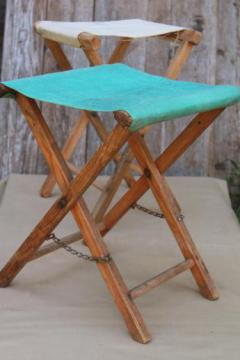 vintage camp fire camping  or fishing stools, old folding wood stools w/ canvas seats
