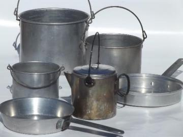 vintage campfire cookware & coffee pot set, packable camping mess kit for a crowd
