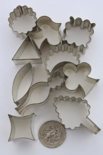 vintage canape cutters for aspics & hors d'oeuvres, miniature cookie cutter sets