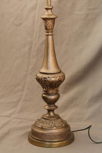 vintage candlestick lamp w/ glass torchiere shade, ornate gold cast metal spelter lamp