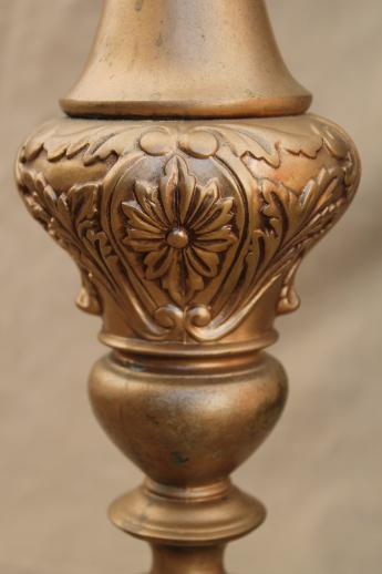 Vintage Candlestick Lamp W Glass Torchiere Shade Ornate
