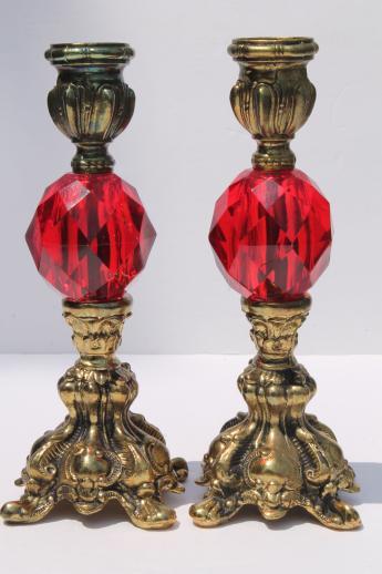 Vintage Candlesticks W Italian Glass Shades Ornate Gold