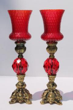 vintage candlesticks w/ Italian glass shades, ornate gold candle holders w/ ruby red lucite gems