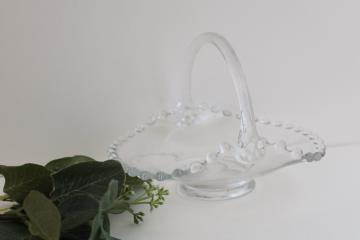 vintage candlewick pattern glass basket candy dish, small basket bowl for mints