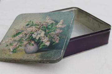 vintage candy box tin with lilacs floral, lovely shabby antique cookie tin
