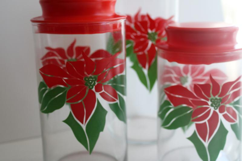 vintage canister jars for cookies or holiday candy, Christmas poinsttia Indiana glass