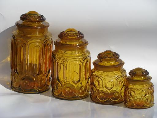 Vintage Canister Jars Set Moon And Stars Pattern Amber