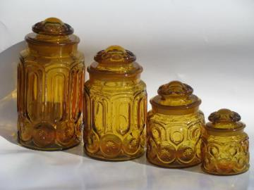 vintage canister jars set, moon and stars pattern amber glass canisters