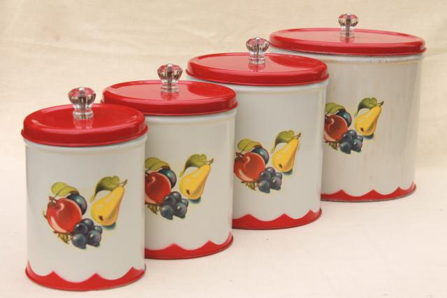 Vintage Canister Set Tins W/ 1950s Retro Fruit Print, Kitchen Counter  Canisters