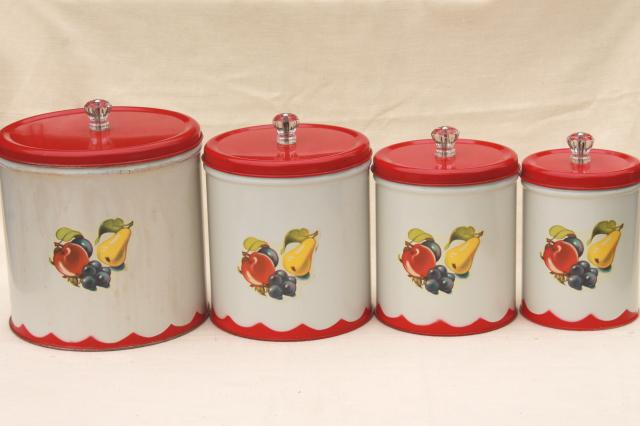 vintage canister set tins w 1950s retro fruit print white canister sets for kitchen counters white best home