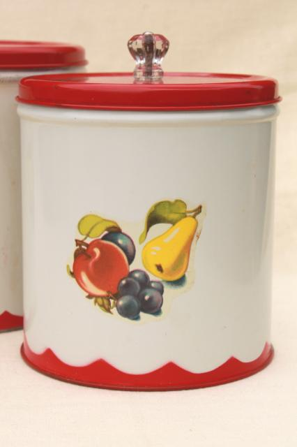 Vintage canister set tins w 1950s retro fruit print for Retro kitchen set of 6 spice tins