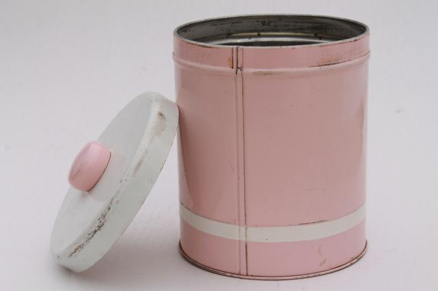 vintage canister tins, shabby chic pink, white, gold rustic farmhouse storage canisters