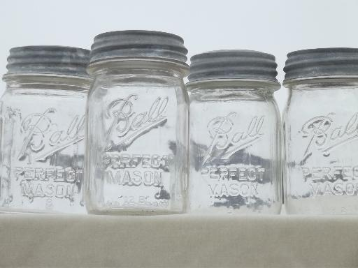 vintage canning jars w/ zinc lids, old Ball Perfect Mason jars for canisters