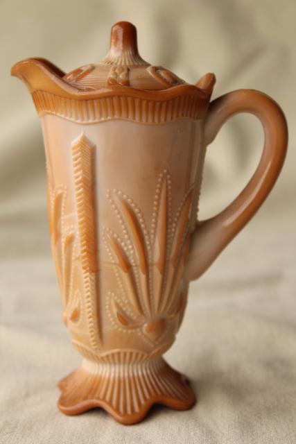 vintage caramel brown slag glass pitcher w/ lid, Fenton cactus pattern reproduction