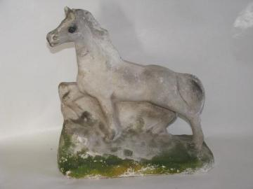 vintage carnival chalkware figure, white horse in lifelike natural pose