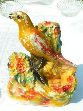 vintage carnival chalkware, golden canary