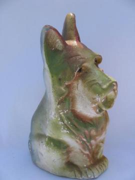 vintage carnival chalkware piece, Scotty dog airbrush painted Scottie