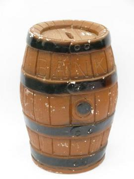 vintage carnival chalkware piece, large wooden barrel savings bank