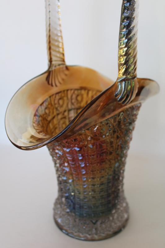 vintage carnival glass basket, Imperial hobstar and waffle block w/ iridescent shaded color