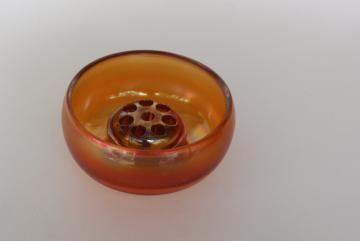 vintage carnival glass flower frog & rose bowl vase, marigold orange luster fall color