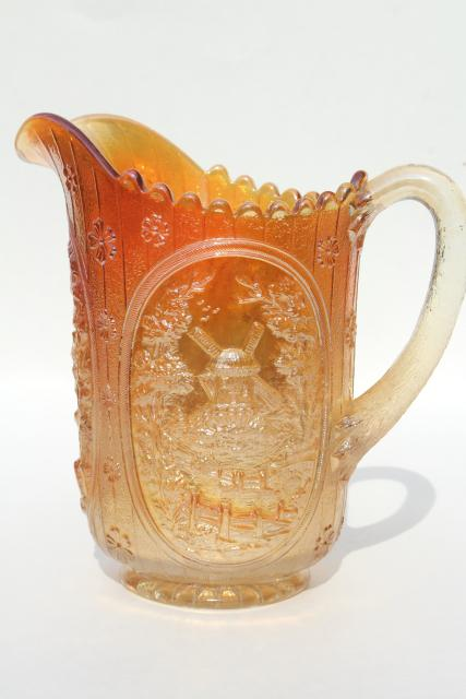 vintage carnival glass lemonade pitcher, marigold iridescent, windmill pattern Imperial glass