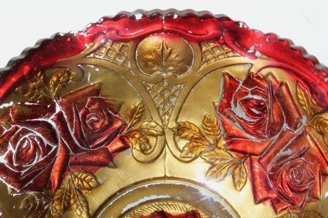 Vintage Carnival Goofus Glass Bowls Shabby Red Roses