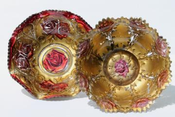 vintage carnival goofus glass bowls, shabby red roses & metallic gold