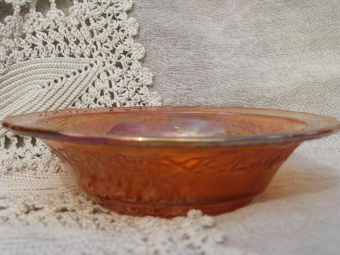 vintage carnival luster glass fruit bowls set of 6, marigold orange
