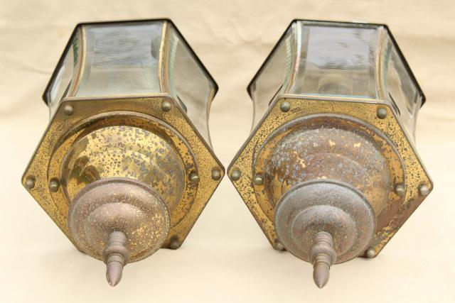 vintage carriage house porch entry lights, pair solid brass lamps w/ curved beveled glass