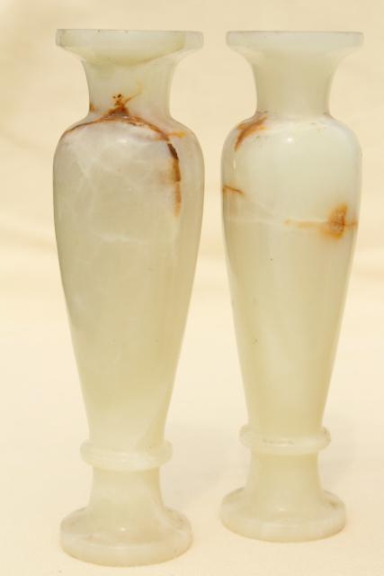 Vintage Carved Stone Candlesticks Amp Vases Pale Alabaster Marble Colored Onyx