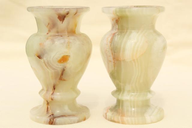 vintage carved stone candlesticks & vases, pale alabaster marble colored onyx