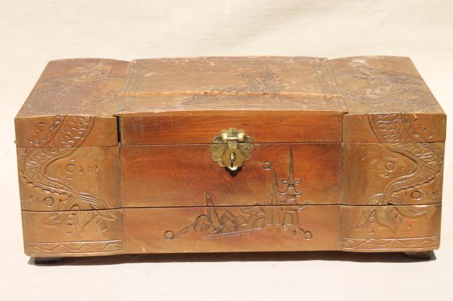 Vintage carved wood jewelry box collection wooden boxes for Vintage antique jewelry box