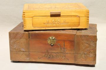 vintage carved wood jewelry box collection, wooden boxes for treasures & keepsakes